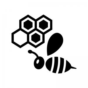 蜂と蜂の巣の白黒シルエットイラスト
