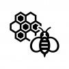 蜂と蜂の巣の白黒シルエットイラスト02
