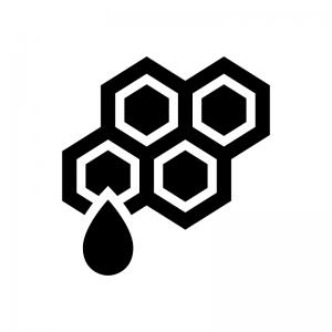蜂の巣・ハチミツの白黒シルエットイラスト
