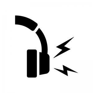 ヘッドホンの音漏れの白黒シルエットイラスト
