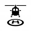 ヘリポートの白黒シルエットイラスト02
