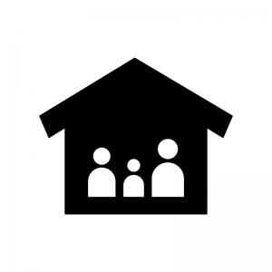 家とファミリーの白黒シルエットイラスト