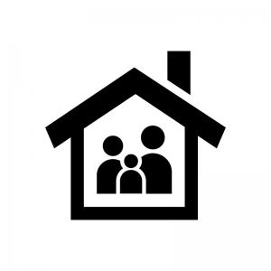 家とファミリーの白黒シルエットイラスト02
