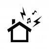 家からの騒音・音漏れの白黒シルエットイラスト