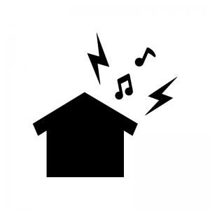 家からの騒音・音漏れの白黒シルエットイラスト02