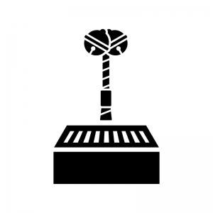 お賽銭箱と本坪鈴(ほんつぼすず)の白黒シルエットイラスト
