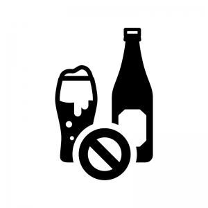 禁酒・アルコール類禁止の白黒シルエットイラスト02