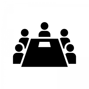 会議・ミーティング(打ち合わせ)の白黒シルエットイラスト