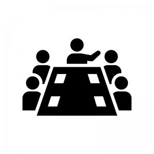 会議・ミーティング(打ち合わせ)の白黒シルエットイラスト02