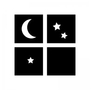 夜の白黒シルエットイラスト