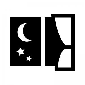 夜の白黒シルエットイラスト02