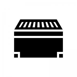 お賽銭箱の白黒シルエットイラスト