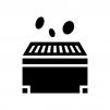 お賽銭箱と小銭の白黒シルエットイラスト