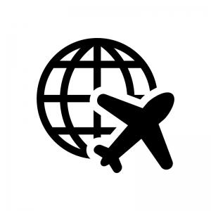 海外旅行の白黒シルエットイラスト02