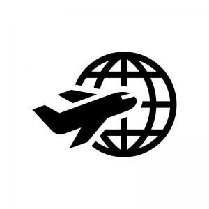 海外旅行の白黒シルエットイラスト