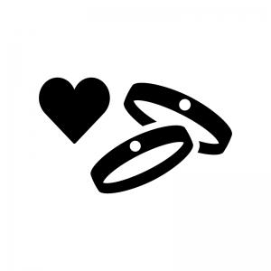 婚約指輪・結婚指輪(ペアリング)の白黒シルエットイラスト02