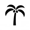 ヤシの実と木の白黒シルエットイラスト