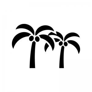 ヤシの実と木の白黒シルエットイラスト02