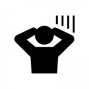 焦る・慌てる・ショックを受ける人の白黒シルエットイラスト