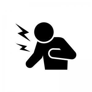動悸・息切れ・発作の白黒シルエットイラスト02
