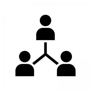 人脈・人のネットワークの白黒シルエットイラスト03
