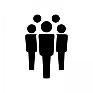 チーム・グループの白黒シルエットイラスト04