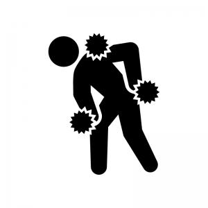 関節痛・肩・腰・膝の痛みの白黒シルエットイラスト04