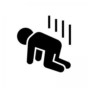 落ち込む・落胆・ガッカリする人の白黒シルエットイラスト02