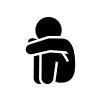 落ち込む・寂しい・悲しい人の白黒シルエットイラスト