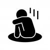 落ち込む・寂しい人の白黒シルエットイラスト02