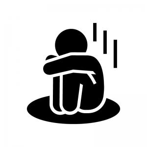落胆・寂しい・悲しい人の白黒シルエットイラスト