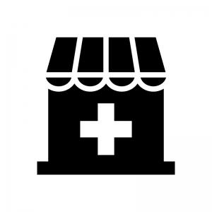 薬局・ドラッグストアの白黒シルエットイラスト