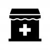 薬局・ドラッグストアの白黒シルエットイラスト02