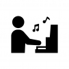 ピアノ演奏の白黒シルエットイラスト