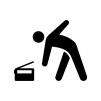 ラジオ体操の白黒シルエットイラスト02