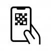 QRコードスキャン(読み取り)の白黒シルエットイラスト02