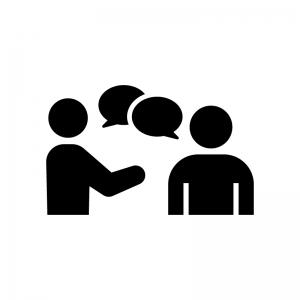 相談・コミュニケーションの白黒シルエットイラスト02