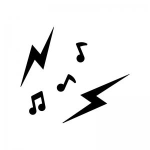 雑音・音漏れの白黒シルエットイラスト