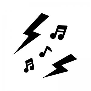 雑音・音漏れの白黒シルエットイラスト02