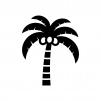 ヤシの実と木の白黒シルエットイラスト04
