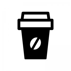 テイクアウトコーヒーの白黒シルエットイラスト02