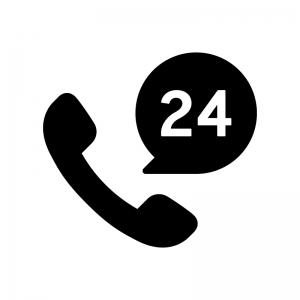 24時間電話サポートの白黒シルエットイラスト