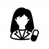 薬剤師(女性)の白黒シルエットイラスト