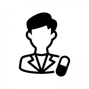 薬剤師(男性)の白黒シルエットイラスト
