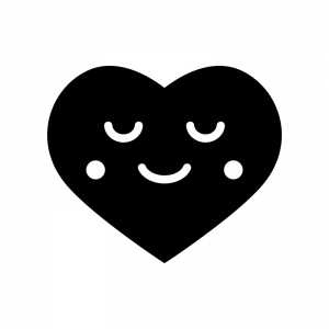 安心した表情のハートの白黒シルエットイラスト