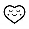 安心した表情のハートの白黒シルエットイラスト02