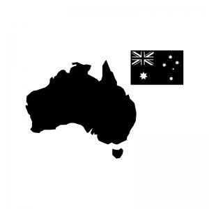 オーストラリアの白黒シルエットイラスト02