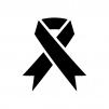 アウェアネス・リボンの白黒シルエットイラスト