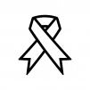 アウェアネス・リボンの白黒シルエットイラスト02