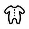 ベビー服の白黒シルエットイラスト
